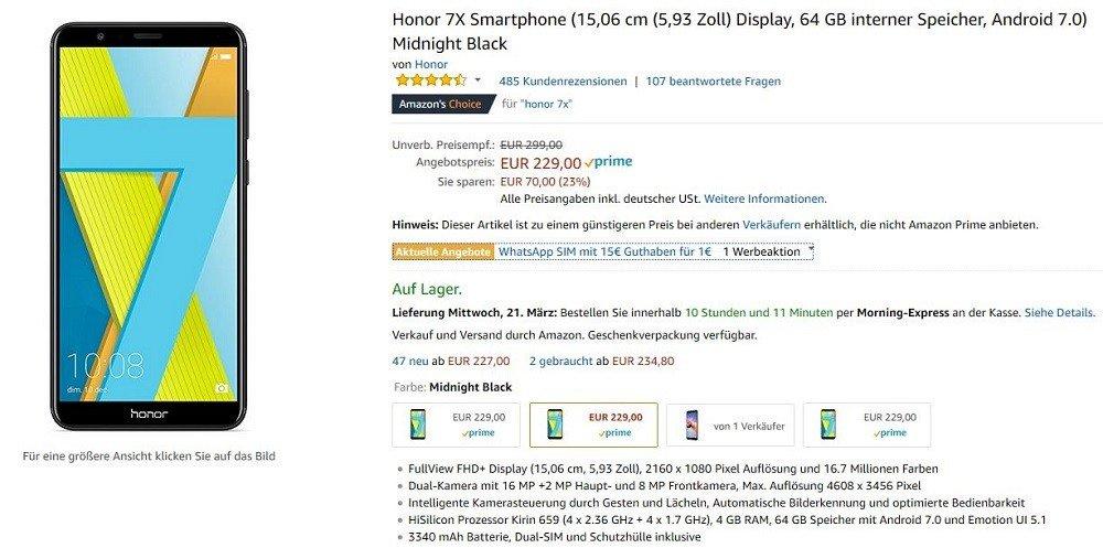 honor 7X Amazon Angebot