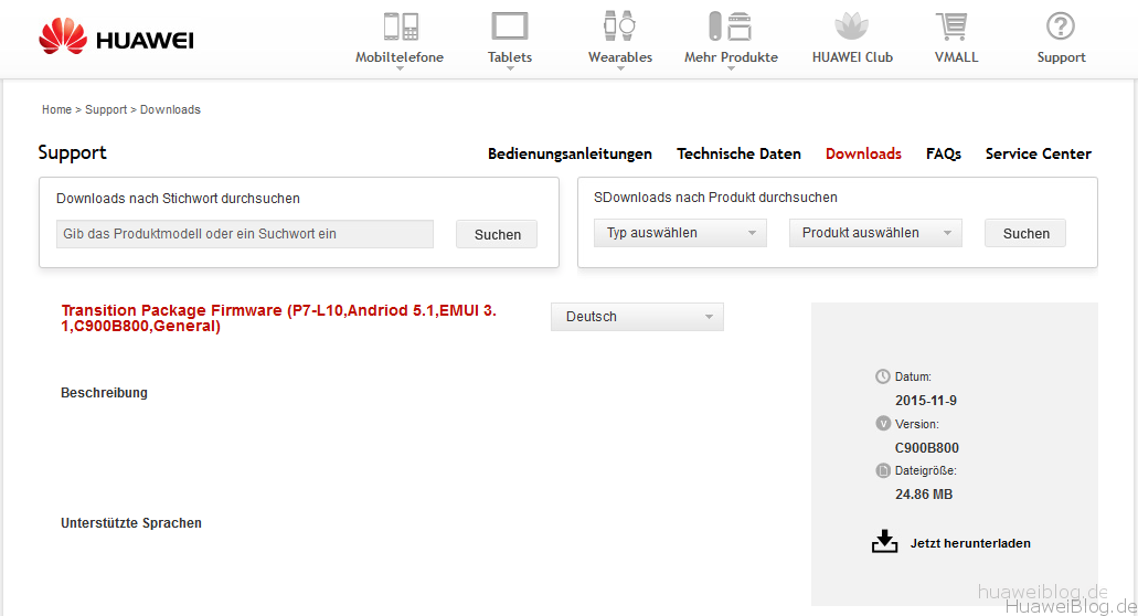 Huawei Transition Package Firmware Ascend P7