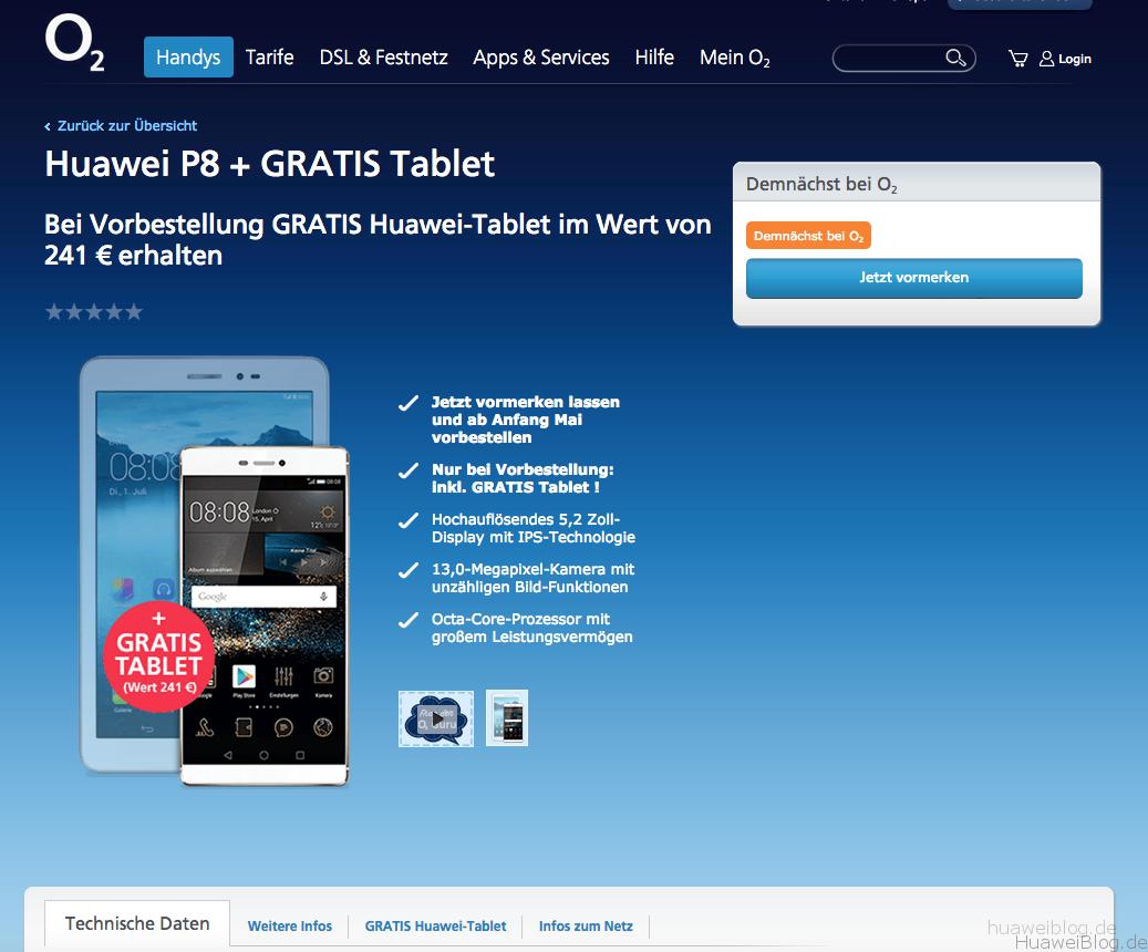 Huawei P8 Gratis mit MediaPad T1 bei o2