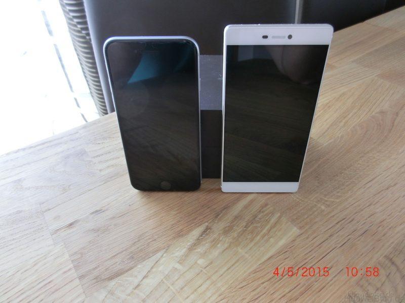 iPhone6 vs. Huawei P8 - Größenvergleich - vorne