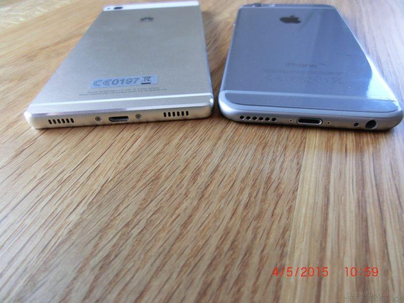 iPhone6 vs. Huawei P8 - Rückansicht - unten
