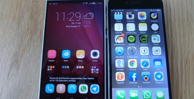iPhone6 vs. Huawei P8 - Frontansicht - Display