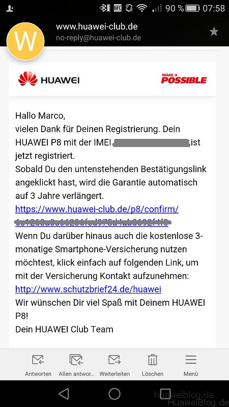 Huawei P8 Garantie Mail
