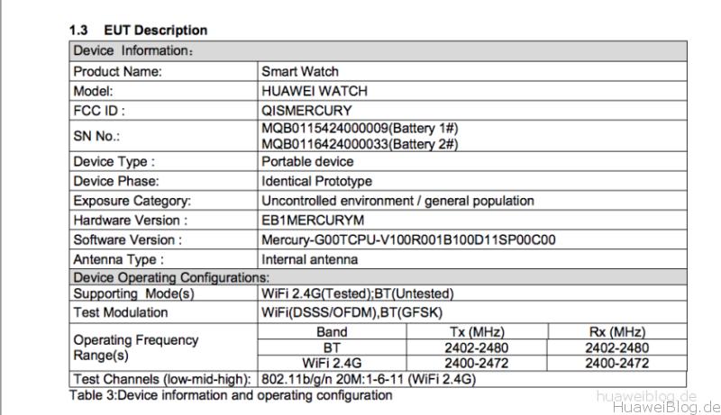 Huawei Watch FCC