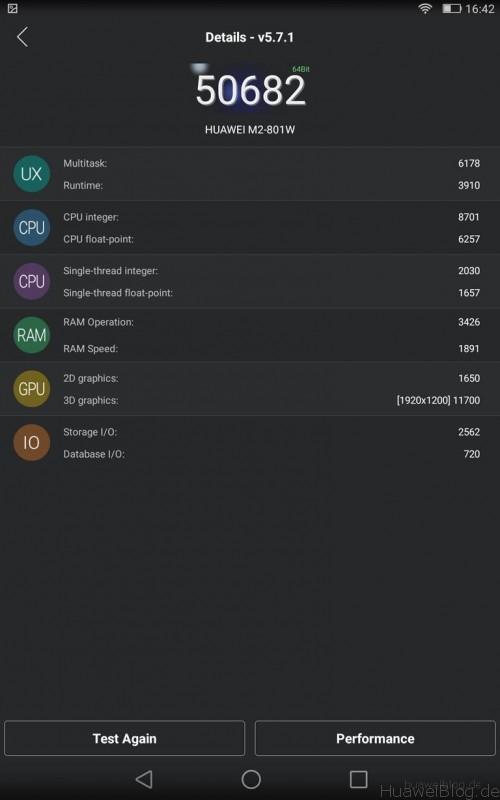 Huawei MediaPad M2 - Benchmark