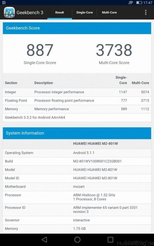 Huawei MediaPad M2 - Geekbench