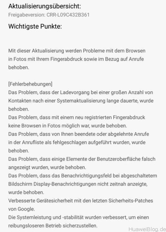 Huawei Mate S B361 Firmware Update Changelog