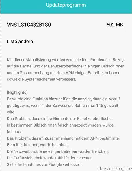 Huawei P9 Lite Update B130 Changelog