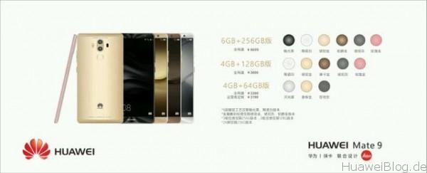Huawei Mate 9 Modelle Farben
