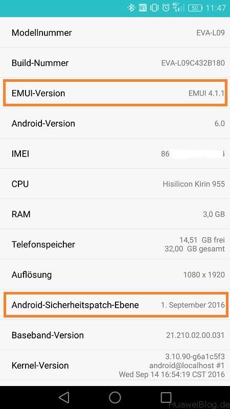 Huawei P9 Update Firmware B180 Info