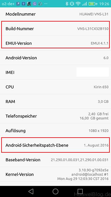 Huawei P9 Lite B150 Update Phone Information