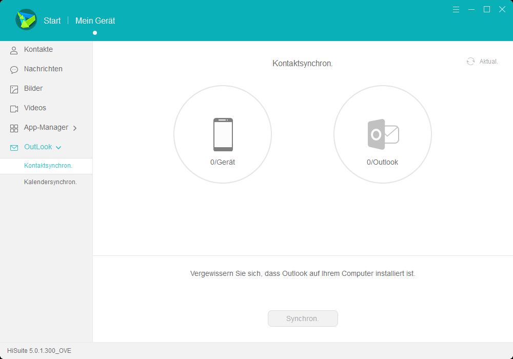 HiSuite Outlook