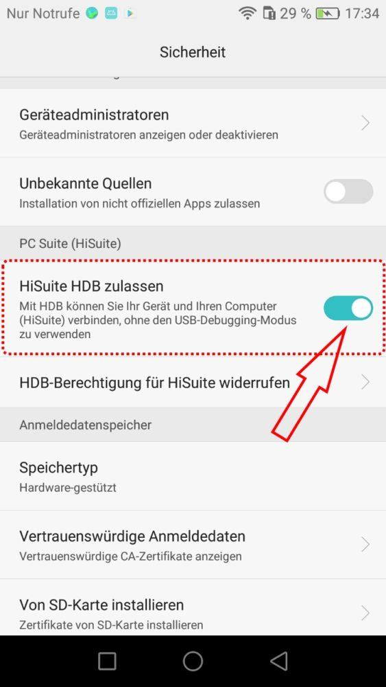 HiSuite Berechtigung