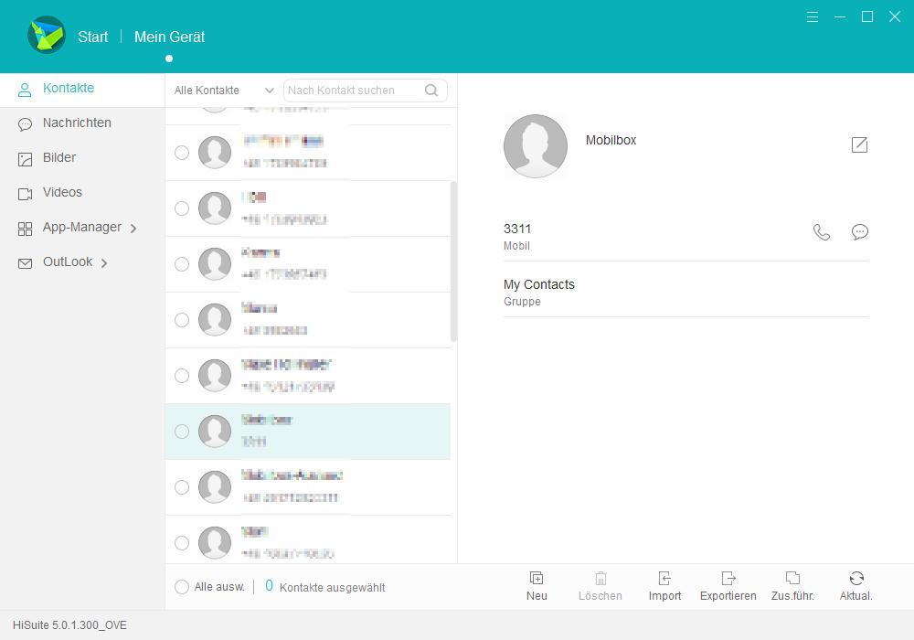 HiSuite Kontakte