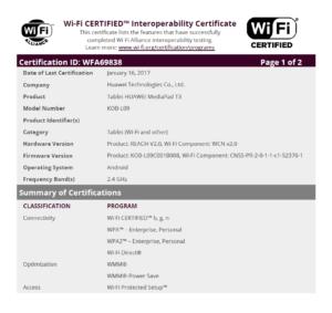 Wi-Fi Zertifikat MediaPad T3