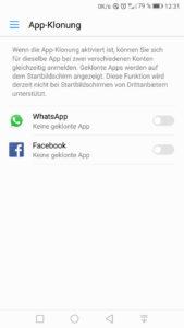 App-Klonung deaktiviert