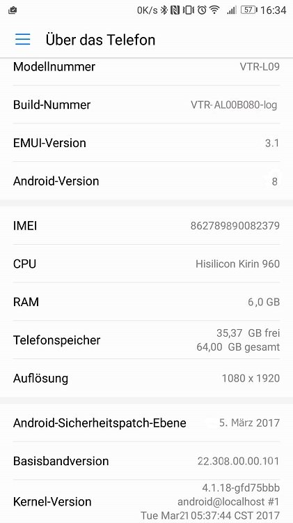 April Huawei Android O