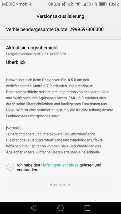 Huawei P9 Lite Nougat OTA