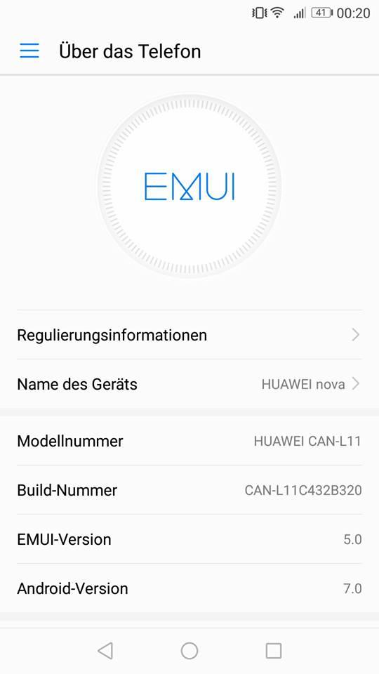 Huawei nova Nougat / Android 7 / EMUI 5 - Update