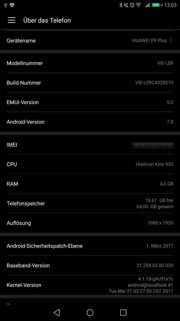 HuaweiP9Plus_Firmware_Update_VIE-L09C432B370_Sicherheitspatchebene