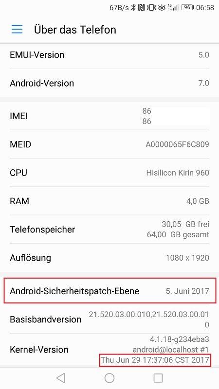 Mate 9 Firmwareupdate B190 Telefoninfo Sicherheitspatch