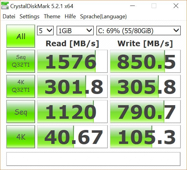 Matebook X Test CrystalDisk