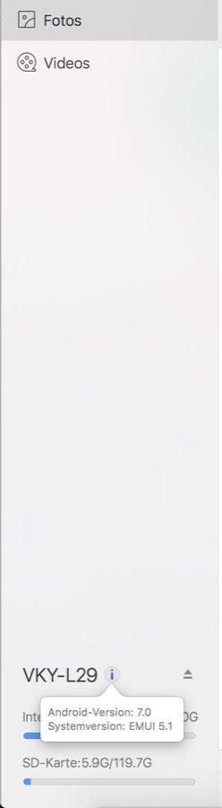 HiSuite für Mac - Smartphone Infos