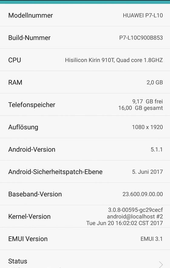 Huawei P7 Update B853 Info