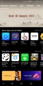 Huawei AppStore Startseite
