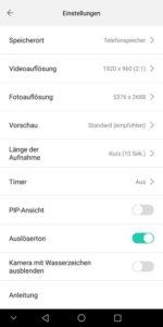 Huawei EnVizion Test Einstellungen
