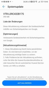 Huawei P10 Sicherheitspatch B175 Changelog
