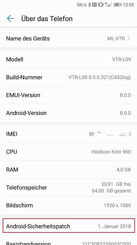 Huawei P10 Oreo Info
