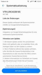 Huawei P10 B185 Firmware Update Changelog