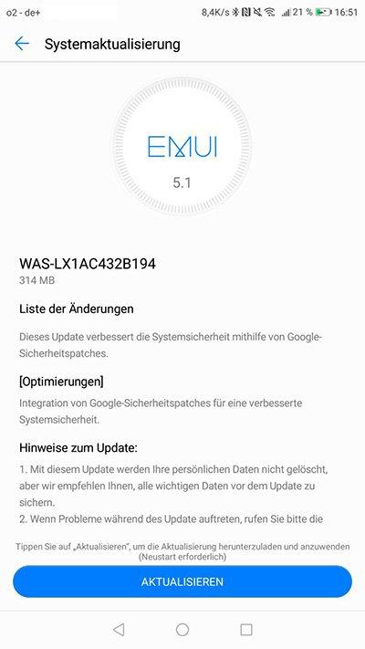 Huawei P10 Lite WAS-LX1AC432B194 Update