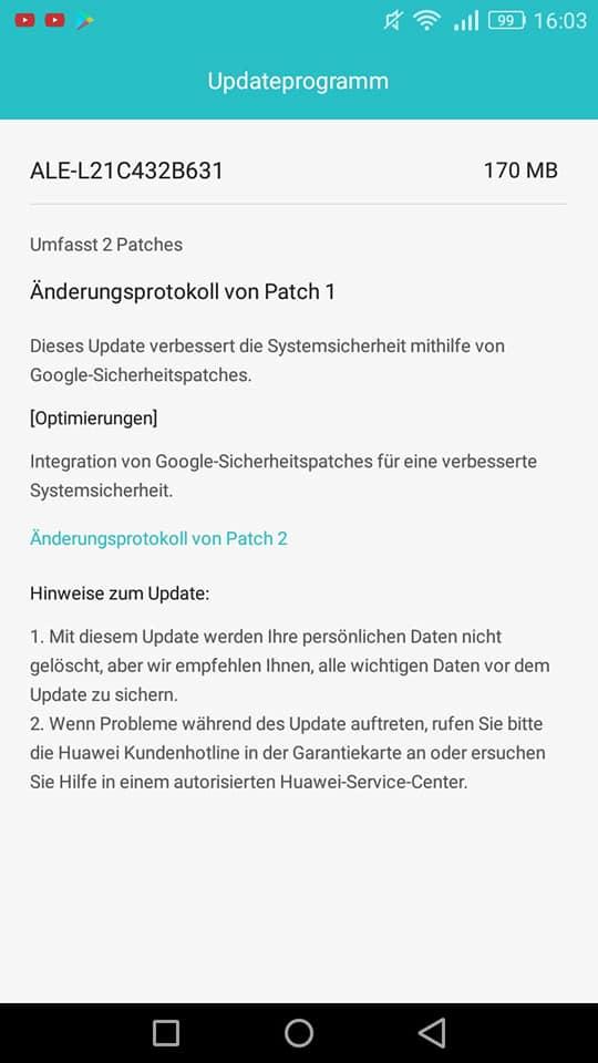 Firmware Updates für Mate 9, P Smart, P8 Lite 2017 und P8 Lite 2015 5