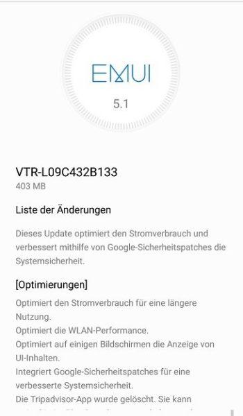 Huawei P10 Update B133 Changelog