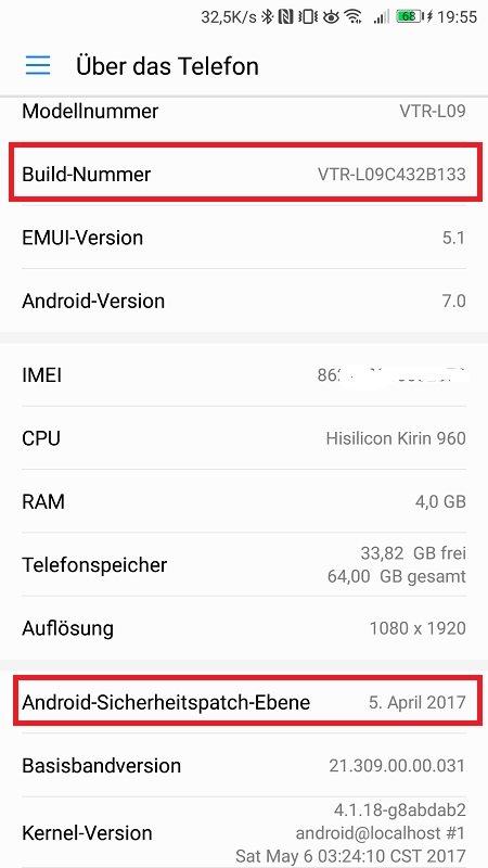 Huawei P10 Update B133 Info