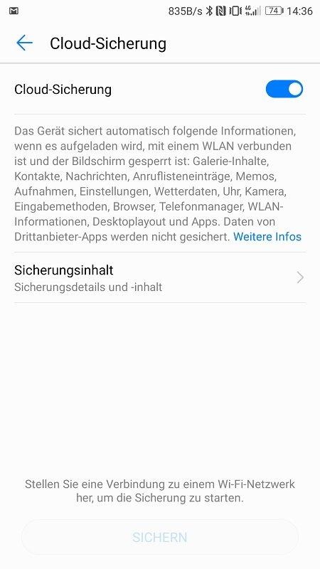 Huawei P10 Update B171 Cloud Backup