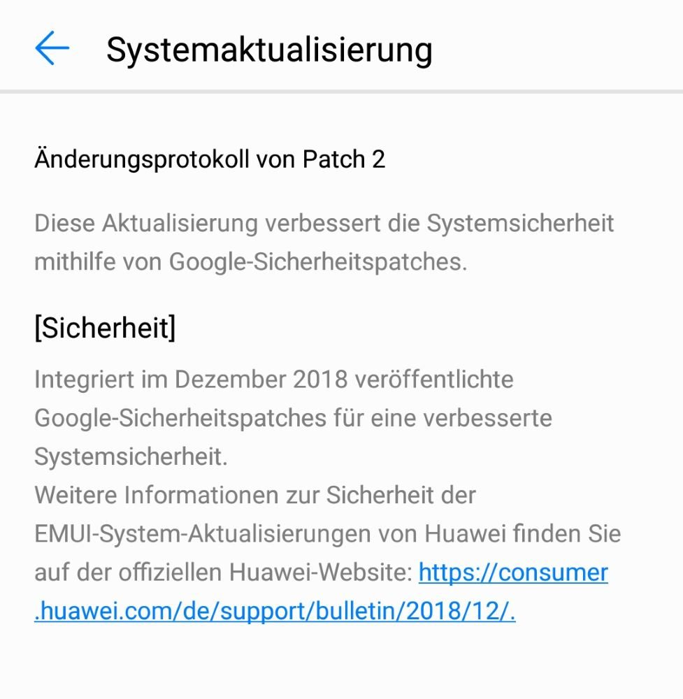 Huawei P20 Lite Update 168 Changelog