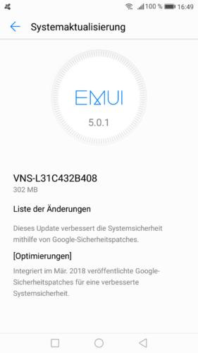 Huawei P9 lite Firmware Update B408