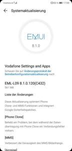 Huawei P20 Firmware Update 8.1.0.120