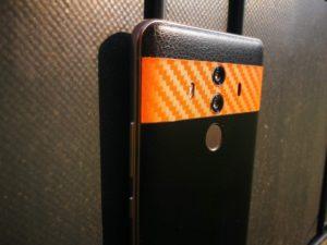 XtremeSkins Mate 10 Pro Black Leather Orange Carbon