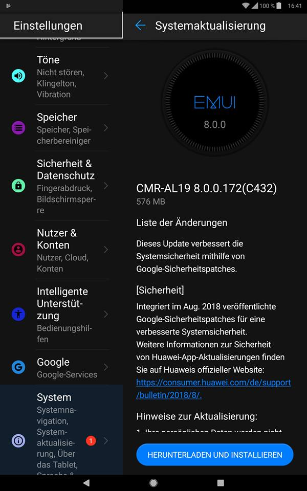MediaPad M5 - Update 172 und 181