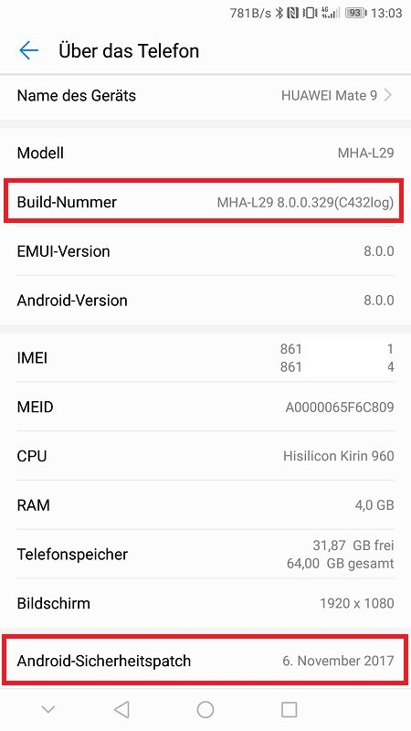 Huawei Mate 9 Oreo Firmware Beta
