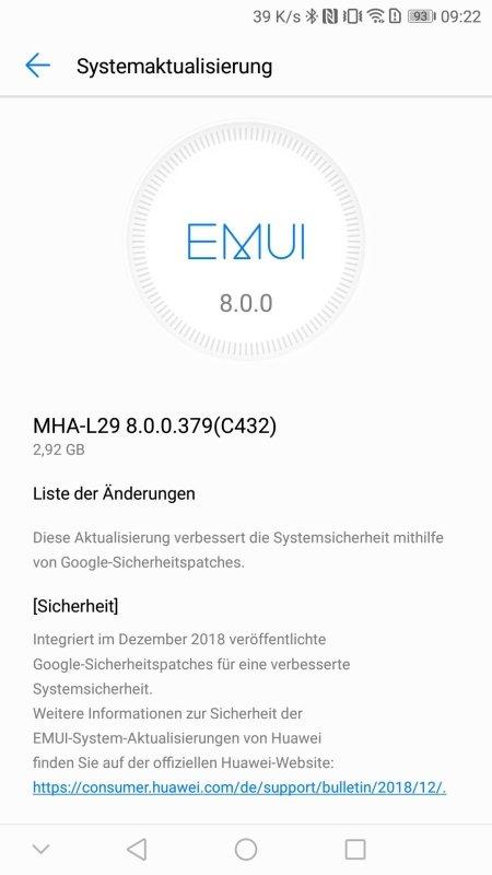 Mate 9 Update aktualisiert Sicherheitspatches 1
