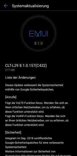 Huawei P20 Pro Update Firmware Update 157 Changelog