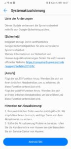 Huawei P20 Firmware Update 165 Changelog
