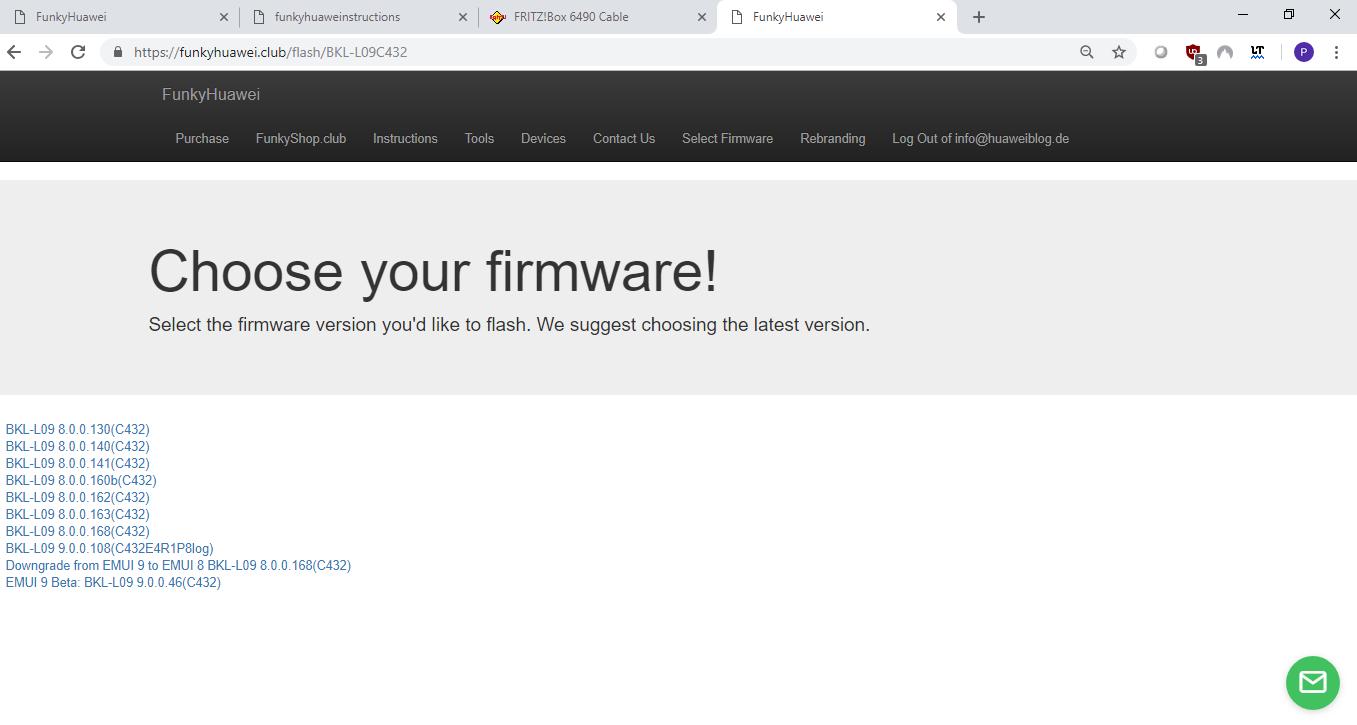 Firmwareversion bei FunkyHuawei wählen