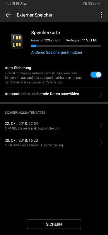 Huawei Mate 20 Pro Test Datensicherung Backup