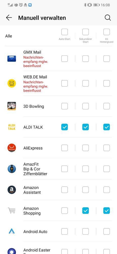 Huawei Benachrichtigungen EMUI 9 manueller App Start